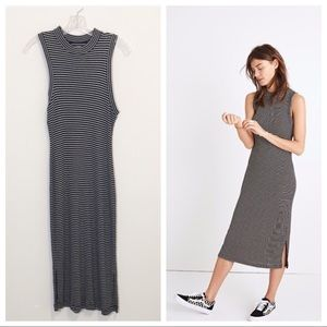 Madewell Black Striped Ribbed Mockneck Midi Dress
